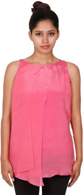 Aggana Casual Sleeveless Solid Women's Pink Top