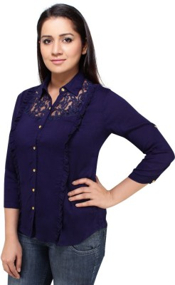 Styles Clothing Casual 3/4 Sleeve Solid Women's Blue Top