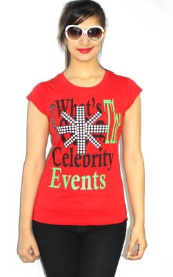 99DailyDeals Casual Short Sleeve Printed Women's Red Top