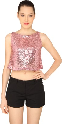 Ashtag Party, Lounge Wear Sleeveless Embellished Women's Pink Top