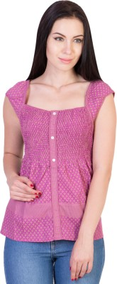 Hlsangam Casual Sleeveless Striped Women's Purple Top