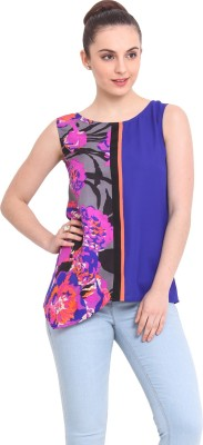 RSVP Cross Casual Sleeveless Floral Print Women's Multicolor Top