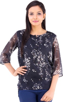 Inblue Fashions Casual 3/4 Sleeve Printed Women's Black Top