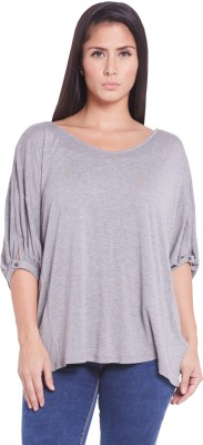 Globus Casual Short Sleeve Solid Women's Grey Top
