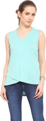 Leo Sansini Casual Sleeveless Solid Women's Green Top