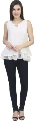kellan Casual Sleeveless Solid Women's White Top