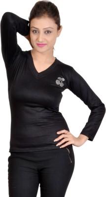 SWEEKASH Casual Full Sleeve Solid Women's Black Top