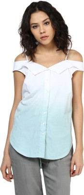 Roving Mode Casual Cap sleeve Solid Women's White Top