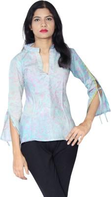 matarani Casual 3/4 Sleeve Printed Women's Light Blue Top