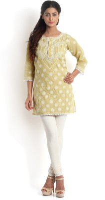 Kasturi-B Swadeshi Karigari Casual 3/4 Sleeve Embroidered Girl's Yellow Top