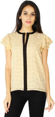 20Dresses Casual Short Sleeve Polka Print Women's Beige, Black Top
