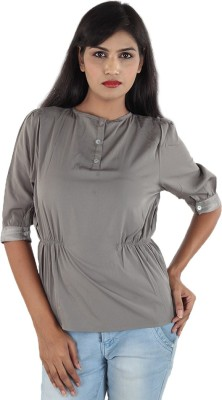 Aimeon Casual Full Sleeve Solid Women's Grey Top