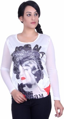 Sellsy Casual Full Sleeve Graphic Print Women's White Top