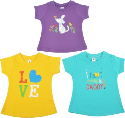 Cucumber Casual Short Sleeve Printed, Self Design Baby Girl's Purple, Blue, Yellow Top
