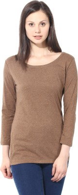 T-shirt Company Casual 3/4 Sleeve Solid Women's Brown Top