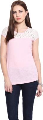 Mystree Casual Short Sleeve Solid Women's Pink Top