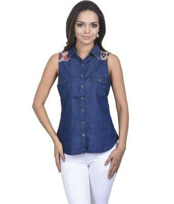 Coffee Bean Women's Solid Casual Denim Light Blue Shirt