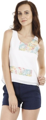 Fuziv Casual Sleeveless Solid Women's White Top