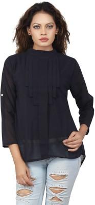 Famglam Casual 3/4 Sleeve Printed Women's Black Top