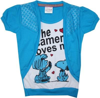 Kidsmasthi Casual Puff Sleeve Printed Girl's Blue Top