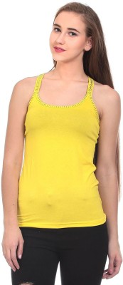Claude 9 Casual Sleeveless Solid Women's Yellow Top