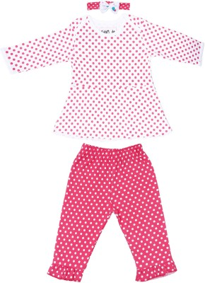 KIDSMODE Casual Full Sleeve Printed Baby Girl's White, Pink Top