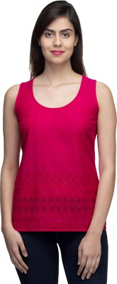 LY2 Casual Sleeveless Embroidered Women,s Pink Top