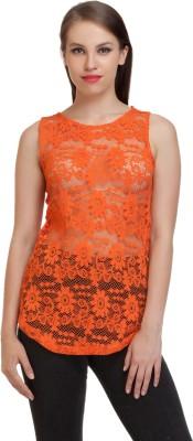 Schwof Party Sleeveless Self Design Women's Orange Top