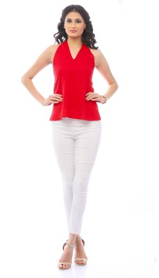 Pinwheel Party Sleeveless Solid Women's Red Top
