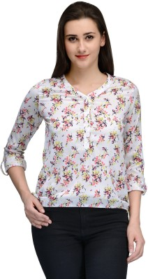 Vemero Casual Roll-up Sleeve Floral Print Women's White Top