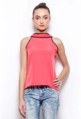 Popnetic Casual Sleeveless Solid Women's Pink Top
