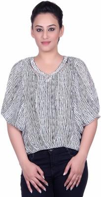 Sellsy Casual 3/4 Sleeve Striped Women's Black Top
