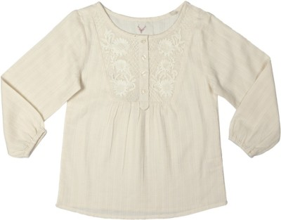 Allen Solly Casual 3/4 Sleeve Solid Girl's White Top