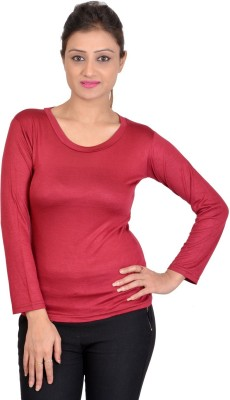 SWEEKASH Casual Full Sleeve Solid Women's Maroon Top