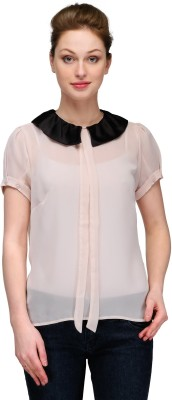 Kami Party Short Sleeve Solid Women,s White Top