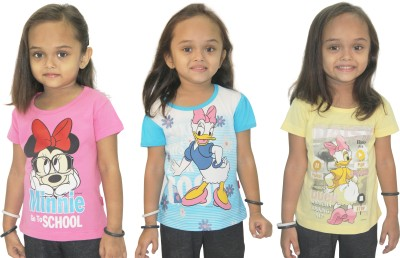 Disney Casual, Party Short Sleeve Graphic Print Girl's Yellow, Pink, Blue Top