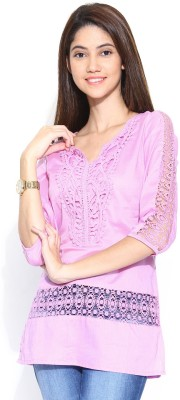 U&F Casual 3/4 Sleeve Solid Women's Pink Top