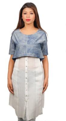 TESSELLATE Formal Short Sleeve Self Design Women's Blue Top at flipkart
