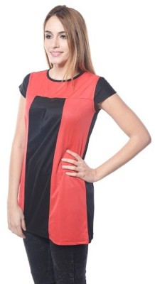 PINK SISLY Casual Sleeveless Solid Women's Black, Red Top