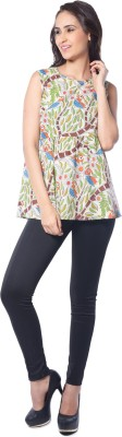 Florriefusion Casual Sleeveless Floral Print Women's Multicolor Top