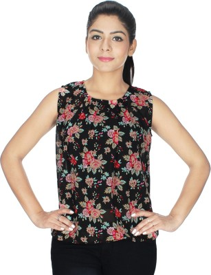 Fashion Hut Casual Sleeveless Solid Women's Red, Black Top