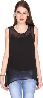 Miss Rich Casual Sleeveless Solid Women's Black Top