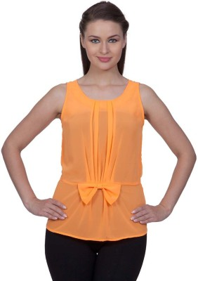 Stylestone Casual, Formal, Lounge Wear, Beach Wear, Party Sleeveless Solid Women's Orange Top