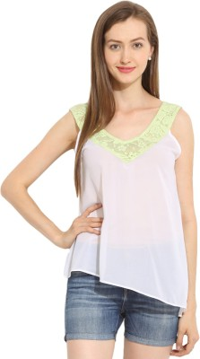 Paprika Casual Sleeveless Solid Women,s Green, White Top