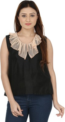Le Luxe Casual Sleeveless Solid Women's Black Top