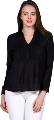 LA ATTIRE Casual Full Sleeve Self Design Women's Black Top