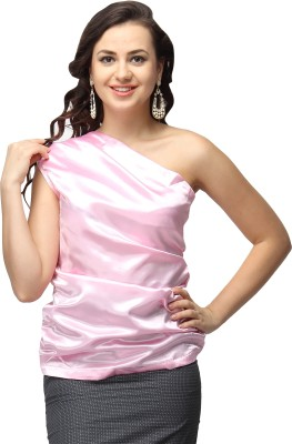 Vodka Fashion India Party, Casual, Lounge Wear Sleeveless Solid Women's Pink Top