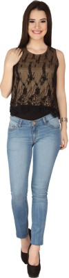 SOIE Casual Sleeveless Embroidered Women's Black Top