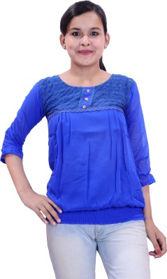 Krazzy Collection Casual 3/4 Sleeve Solid Women,s Blue Top