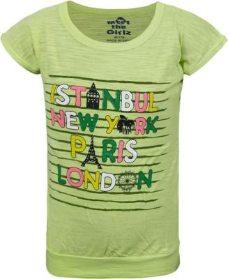 Kothari Casual Short Sleeve Printed Girl's Light Green Top